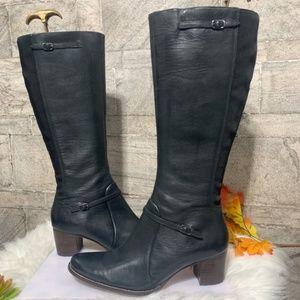 Timberland Tasa Black Tall Leather Heeled Boots